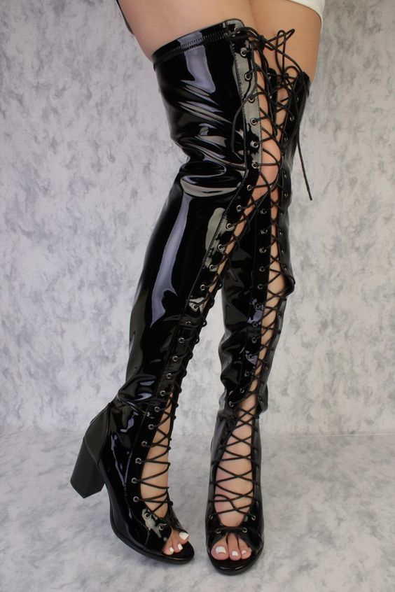Black Front Lace Up Detailing Thigh High Open Toe Single Sole ...