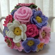 Hand knitted 4 cup Spring Rose floral tea by Handmadewithlove66: