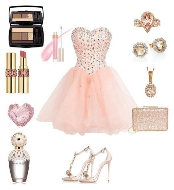"""""""Roses and gold"""" by clllarexo on Polyvore featuring Dsquared2, Lulu*s, Anika and August, Phillips House, Stila, Lancôme, Marc Jacobs, Yves Saint Laurent, women's clothing and women's fashion"""