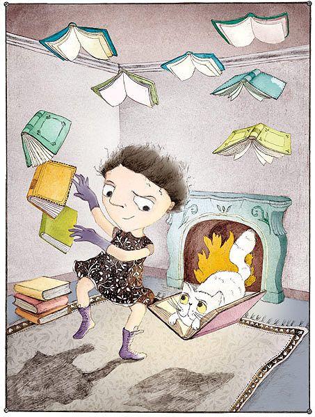 Books bewitched, magic reader / Libros embrujados, magia lectora (ilustración de Odelia Leaf)