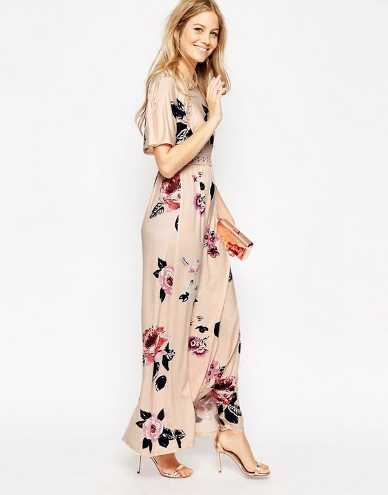 Asos Angel Sleeve Maxi Dress With Lace Inserts In Floral Print On ShopStyle