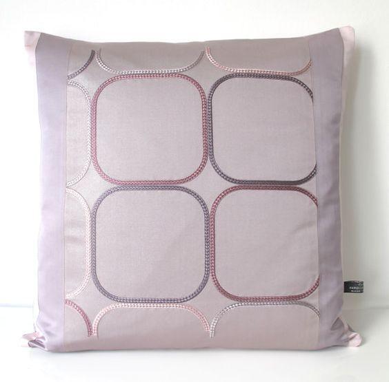 Decorative Modernist Pillow Cushion in Metallic Lilac Grey Geometric Rope Design from unused Vintage Japanese Obi Silk NEW LTD EDITION 2016
