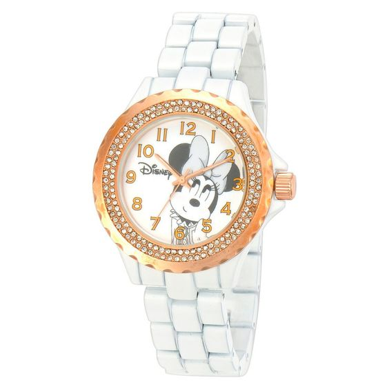Women's Disney Minnie Mouse Bezel Enamel Sparkle Watch - White, Size: Large