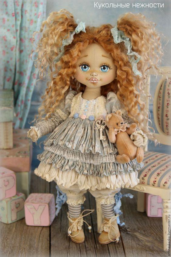 Купить Кнопочка (резерв) . Кукла авторская текстильная - шебби, шебби-шик, шебби шик, бохо: