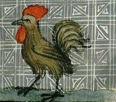 Manoscritti medievali contenenti il gallo la gallina il cappone: