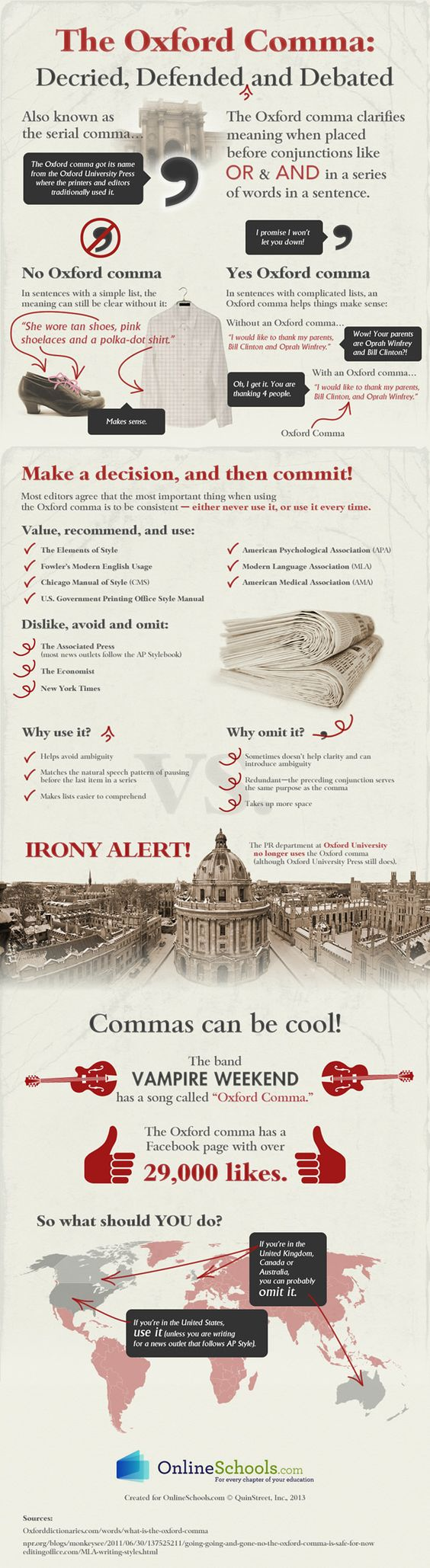 For the Love of the Oxford Comma  In case you missed the fact that I adore the Oxford comma (and the reasons why I think you should love it, too), here's a fabulous infographic that might explain more.
