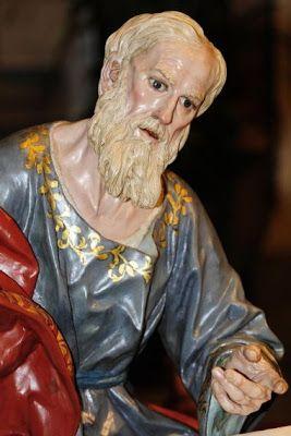 La Última Cena. Cofradía de Ntro. Padre Jesús Nazareno de Murcia. Obra de Francisco Salzillo. 1763 || San Andrés: presenta un rostro de  admiración, fijando la mirada en Cristo.