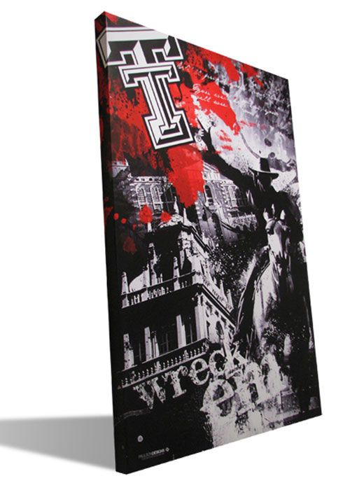 """Canvas art print incorporating Texas Tech tradition in a modern style is a great addition to your home or office decor.  Texas Tech graphics makes your loyalty undeniable.  A perfect gift for any Red Raiders fan!  Makes a great graduation gift!  Approx. 24"""" x 36"""" $145.99"""