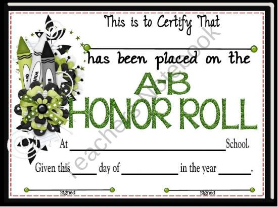 Roll certificate passion aka aka teaching honor roll prek 8th grade