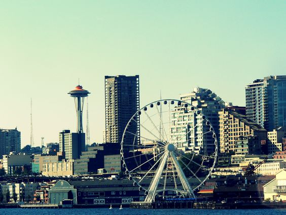 Great shot of the new Seattle Great Wheel, Space Needle, waterfront and downtown
