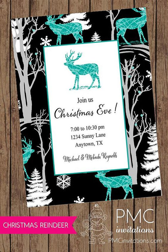 Reindeer Holiday Christmas Invitation  1.00 by PaperMonkeyCompany, $1.00