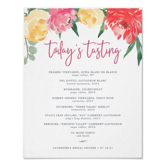 Rosé Garden Wine Tasting Menu Sign #colorful #summer #wedding #weddingdecor #weddingpartysupplies #partysupplies #customize #personalize