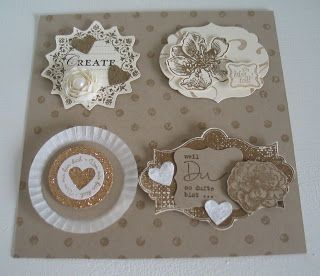 card toppers in kraft with gold and cream ... various label die cuts ... great ideas ... Stampin' Up!