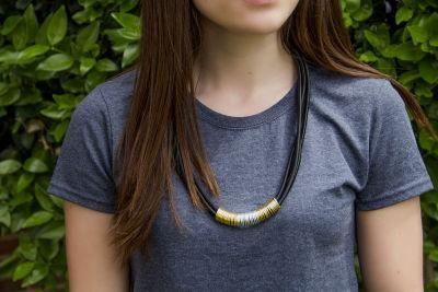 Black Bungee Quad Strand Necklace
