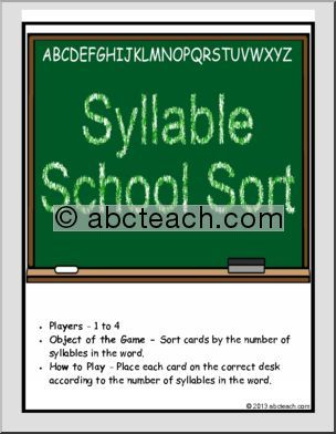 Syllable Word Sort - School Syllables - Back to School - Counting Syllables | abcteach