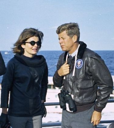 BOMBER JACKET  22 September 1962 while watching the America's Cup.   Photographs' source: JFK Library: