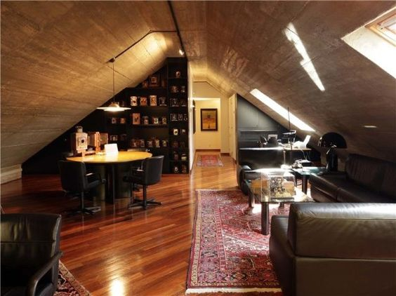 Gentlemanly man cave in the attic.