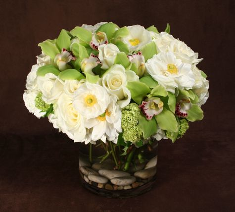 White iceland poppies, green orchids.