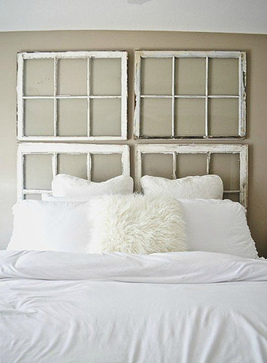 A New Headboard by Bedtime: 12 Unusual & Affordable DIY Headboard Ideas |  Window pane headboard, Diy headboards and Bedtime