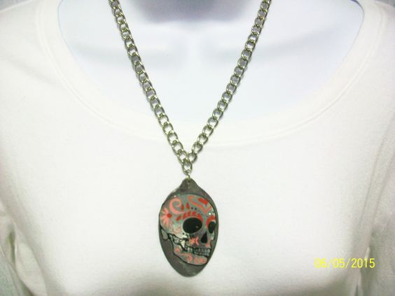 Item 1740-Upcycle Tablespoon Necklace with Skeleton Head. Sells for $10.00. Get a link to my Website ecrater.com at the top of my Page and order with Pay Pal. FREE SHIPPING AND HANDLING.