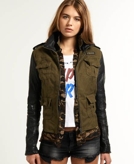 womens megan skinny mix jacket in army superdry fashion pinterest coats logos and. Black Bedroom Furniture Sets. Home Design Ideas