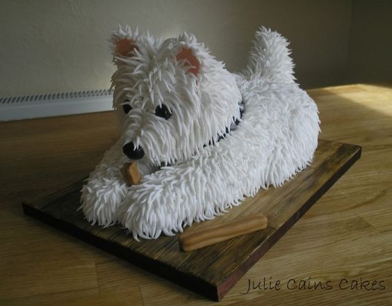 Digging Dog Cake Decoration : Dog Cake Westie - by Julie Cains Cakes Westie food style ...