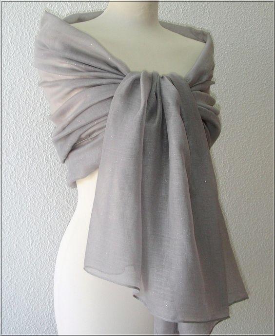 etole charpe foulard gristaupe crmonie mariage cocktail - Etole Beige Mariage