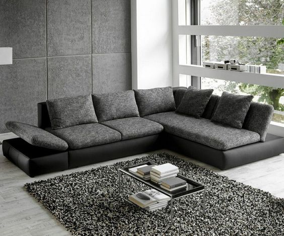 Wohnlandschaft Saneta 326x208cm Schwarz Grau mit Bett Living - wohnzimmer schwarz grau