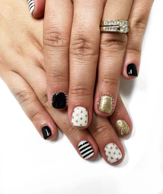 Black white and gold nails. Baby shower nails. Polka dots and stripes. #PreciousPhan