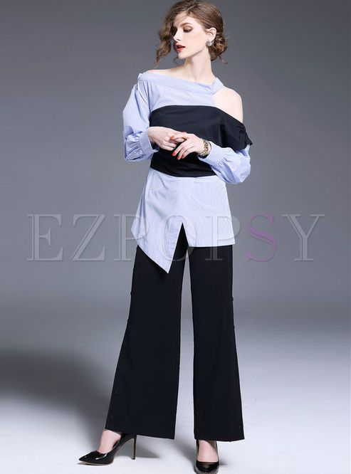 Chic Asymmetric Off Shoulder Hit Color Stripe Blouse