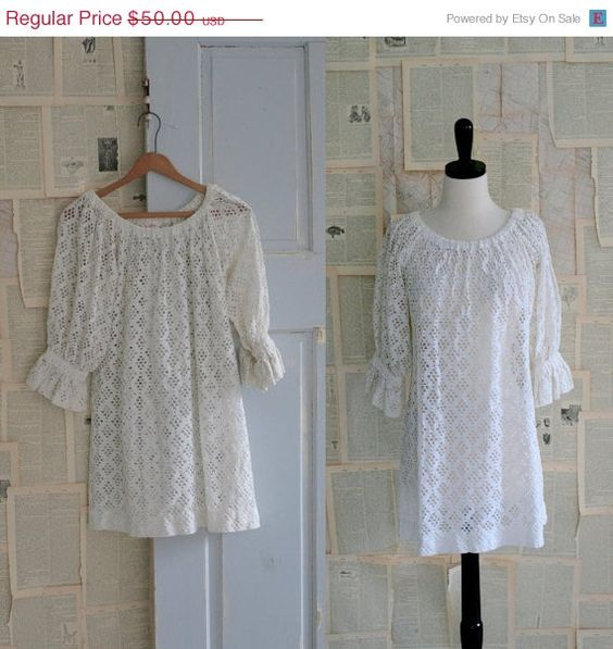 1960s Whie Eyelet Hippe Dress/Blouse $40.00