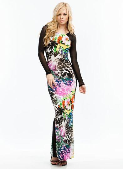 Blossoming Leopard Mesh Maxi Dress