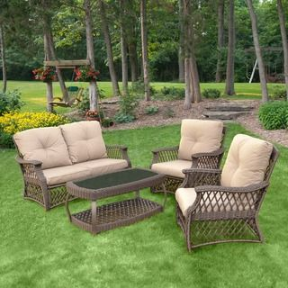 4-Piece Mocha Woven Rattan Conversation Set with Cushions