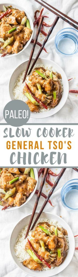 This Paleo Slow Cooker General Tso's Chicken tastes just like your favorite takeout but totally healthier! Sticky, sweet, spicy and just perfect!