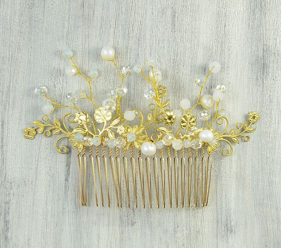 Bridal hair comb wedding Hair CombGold leaf and by PrettyNatali