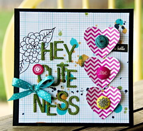 Hey Cuteness card - by Leslie Ashe using Amy Tangerine Sketchbook from American Crafts.