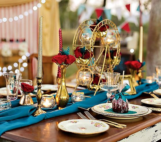 Fabulous Vintage Carnival Wedding ThemeKeywords: #weddings #jevelweddingplanning Follow Us: www.jevelweddingplanning.com www.facebook.com/jevelweddingplanning/ - love the big wheel centrepiece:
