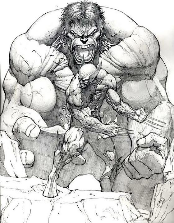 ... drawing of 2 of marvel's iconic beasts…