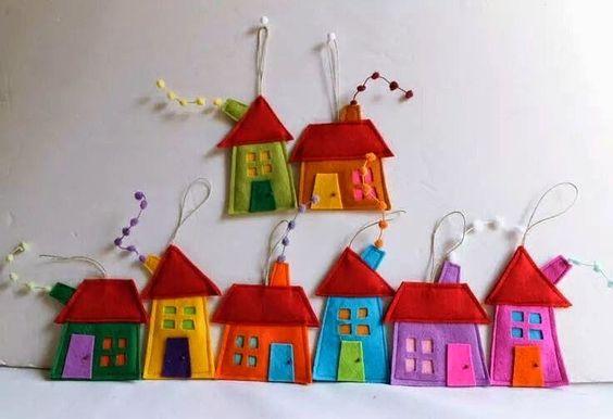 ARTE COM QUIANE - Paps,Moldes,E.V.A,Feltro,Costuras,Fofuchas 3D: casinhas de feltro,lindas e com molde!