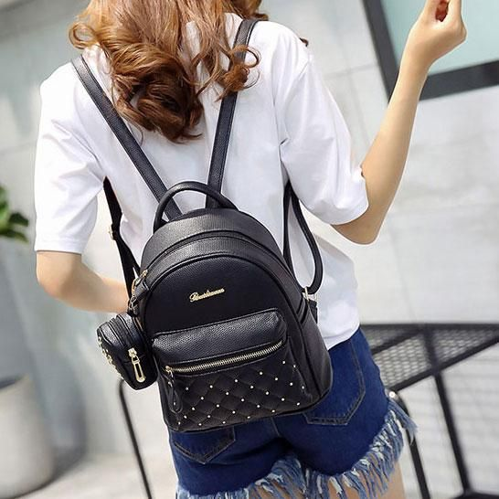 Women Girls Black Small Backpack Solid Faux Leather Casual Shoulder Bag MP