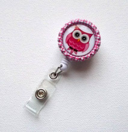 Amazon.com: Pink & White Owl - ID Badge Holder - ID Badge Reel - Name Badge Holder - Nursing ID Badge - Nurse Badge Clip: Office Products