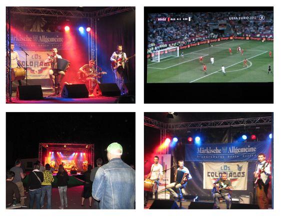 """Die EM 2012 hat begonnen und auch das MAZ-Fanquartier in Potsdam hat seine Tore geöffnet. Zum Auftakt am Freitagabend heizten die Jungs von """"Los Colorados"""" den Fans ein. Alle aktuellen Public-Viewing-Bilder hier: http://www.maerkischeallgemeine.de/Publicviewing"""
