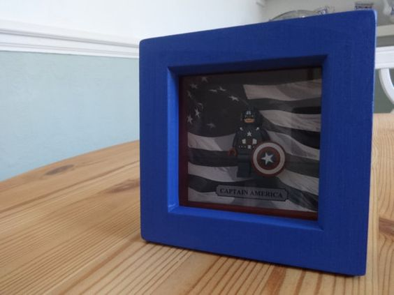 Lego Inspired Captain America Framed Figure by SimplyChicGifts