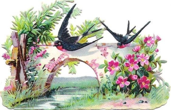 Oblaten Glanzbild scrap die cut chromo Vogel bird Schwalbe swallow Brücke bridge: