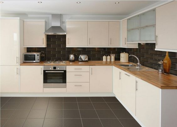 Metro black wall tile pinterest cream kitchens black for Metro tiles kitchen ideas
