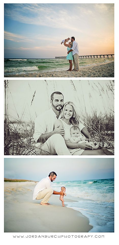 family beach portraits. 3 month old portraits. sunset.  (C) jordan burch photography