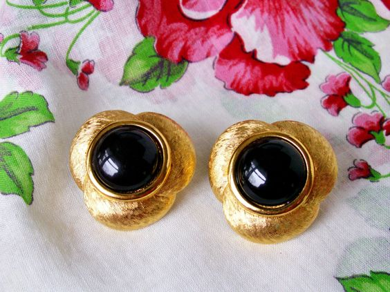 Vintage Napier Black Cabochon Brushed Gold Tone Adjustable Screw Back Earrings, Designer Signed 80's Earrings by dazzledbyvintage on Etsy