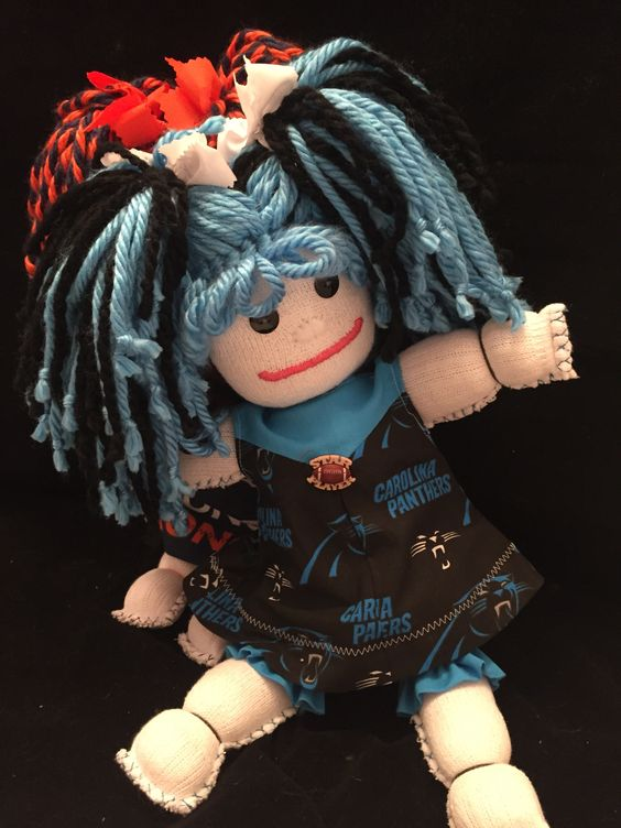 """#CarolinaPanthers - Handmade, custom sock dolls. No two are made alike.  These dolls are $30. Each doll comes complete with an """"Adoption Day"""" Certificate. Email: SusieQDolls@gmail.com to place an order."""