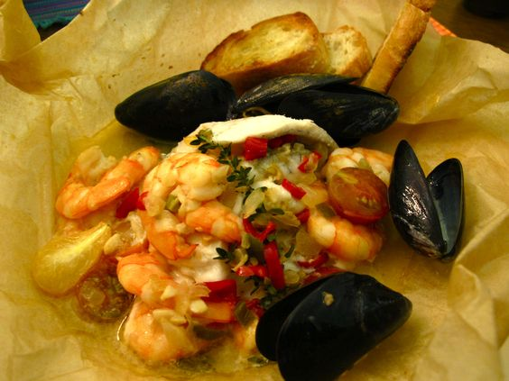 Flounder, shrimp, and mussels in parchment.  Absolutely lovely!