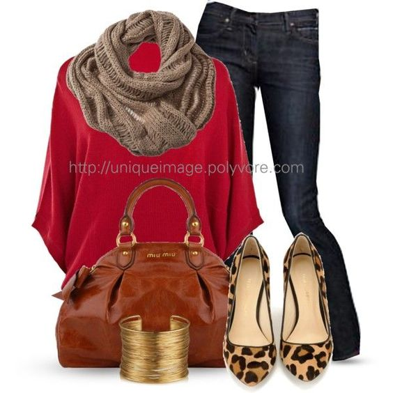 Red Top, Neutral Knit Infinity Scarf, Dark Jeans, Warm Tone Animal Flats, Gold Bangles: